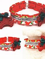cheap -Dog Cat Collar Christmas Dog Collar Tie / Bow Tie Adjustable Flexible Outdoor Walking Santa Claus Snowman Christmas Tree Cotton Golden Retriever Corgi Bulldog Bichon Frise Schnauzer Poodle Red 1pc