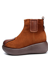 cheap -Women's Boots Chunky Heel Round Toe Booties Ankle Boots Vintage Daily Leather Solid Colored Yellow / Booties / Ankle Boots