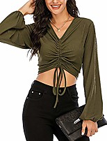 cheap -women's casual v neck long sleeve soild basic crop top t-shirt army green l