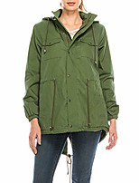 cheap -hunter green faux-fur lined anorak jacket w/removable hood zipper and button up (small)