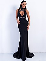 cheap -Mermaid / Trumpet Cut Out Sexy Prom Formal Evening Dress Halter Neck Sleeveless Sweep / Brush Train Spandex with Pleats 2020