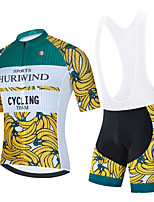 cheap -Men's Short Sleeve Cycling Jersey Cycling Jersey with Bib Shorts Cycling Jersey with Shorts Green / Yellow Black Black / White Fruit Bike Breathable Quick Dry Sports Graphic Mountain Bike MTB Road