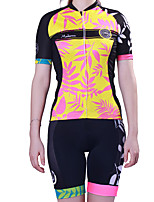 cheap -Women's Short Sleeve Cycling Jersey with Shorts Polyester Black / Yellow Floral Botanical Bike Clothing Suit Breathable 3D Pad Quick Dry Reflective Strips Back Pocket Sports Graphic Mountain Bike MTB