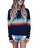 cheap -women's rainbow tops colorful striped shirts long sleeve crew neck color block casual blouse - black m