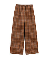 cheap -Women's Basic Streetwear Comfort Daily Going out Wide Leg Pants Pants Plaid Checkered Full Length Orange