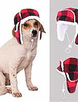 cheap -christmas dog trooper hat with earmuffs winter adjustable pet ushanka red plaid pet cap xmas dog headwear for small medium large dogs