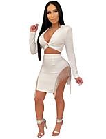 cheap -Women's Sheath Dress Short Mini Dress - Long Sleeve Solid Color Tassel Fringe Split Patchwork Winter V Neck Hot Sexy Club Slim 2020 White Black S M L XL XXL