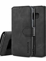 cheap -pu leather case for samsung galaxy s7, vintage retro premium wallet flip cover tpu inner shell [card slots] [magnetic closure] stand function folio shockproof full protection - black