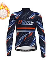 cheap -21Grams Men's Long Sleeve Cycling Jacket Winter Fleece Polyester Dark Blue Bike Jacket Top Mountain Bike MTB Road Bike Cycling Thermal Warm Fleece Lining Breathable Sports Clothing Apparel / Stretchy