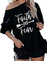 cheap -jawint womens faith over fear long sleeve t shirt summer o neck casual cute graphic tees tops black