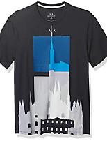 cheap -a|x armani exchange men's regular fit city scape print crewneck cotton graphic tee, navy, l