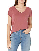cheap -women's linen v-neck short-sleeve t-shirt, dark rose, small