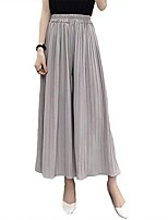 cheap -women's summer fall casual elastic high waist chiffon pleated loose wide leg pants,gy grey
