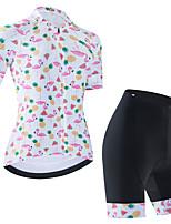 cheap -Women's Short Sleeve Cycling Jersey Cycling Jersey with Bib Shorts Cycling Jersey with Shorts White Black Black / White Flamingo Fruit Bike Breathable Quick Dry Sports Graphic Mountain Bike MTB Road