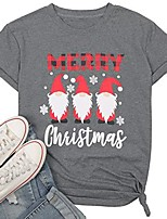 cheap -merry christmas shirt for women cute gnomies shirt christmas funny graphic tshirt letter print tee tops gray