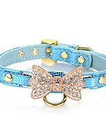cheap -gold bling diamond giltter leather fashion collar with ring for tags for small dogs/cats,[adjustable collars for puppy/kitten] (s, blue)
