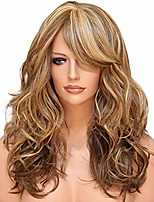 cheap -women's fashion long curly wigs, ladies heat resistant human hair brazilian real natural wave synthetic lace front elegant hair (brown)