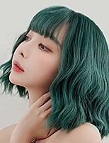 cheap -green wavy wig with bangs women's short bob curly shoulder length wigs synthetic textured costume party cosplay wig 14 inch