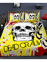 cheap -Skull Series Yellow 3-Piece Duvet Cover Set Hotel Bedding Sets Comforter Cover with Soft Lightweight Microfiber For Holiday Decoration(Include 1 Duvet Cover and 1or 2 Pillowcases)