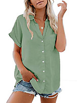 cheap -women's button up shirts cotton short sleeve blouses v neck casual tunics solid color tops with pockets - green-2 l