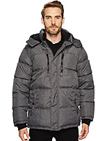 cheap -men's bubble jacket with faux sherpa trim, grey yarn dye, l