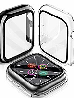 cheap -[2 pack] compatible apple watch series 6/se/5/4 case 40mm with build-in tempered glass screen protector, hard tpu all-around protective cover case for iwatch series 6/se/5/4, (black/clear 40mm)