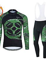 cheap -WECYCLE Men's Women's Long Sleeve Cycling Jersey with Bib Tights Cycling Jersey with Tights Winter Fleece Polyester Green Black / White Black / Green Gear Bike Clothing Suit Fleece Lining Breathable
