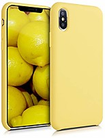 cheap -tpu silicone case compatible with apple iphone xs - soft flexible rubber protective cover - yellow matte