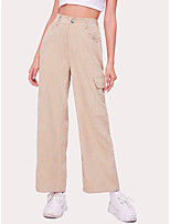 cheap -Women's Daily Casual Pants Chinos Pants Solid Colored Full Length Beige