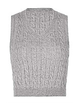cheap -womens sweater vest jumpers sleeveless gilets chunky knitted v-neck pullover slim costume rhombus pattern cropped tank tops sweatshirt gray