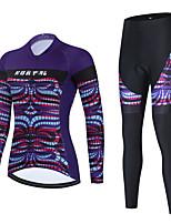 cheap -Women's Long Sleeve Cycling Jersey with Bib Tights Cycling Jersey with Tights Cycling Jersey Winter Black Purple Black / White Bike Breathable Quick Dry Sports Graphic Mountain Bike MTB Road Bike