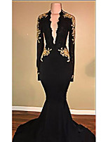 cheap -Mermaid / Trumpet Beautiful Back Sexy Engagement Formal Evening Dress V Neck Long Sleeve Sweep / Brush Train Spandex with Appliques 2020
