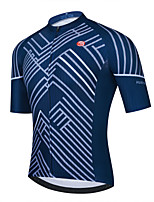cheap -Men's Short Sleeve Cycling Jersey Dark Navy Stripes Bike Top Mountain Bike MTB Road Bike Cycling Breathable Quick Dry Sports Clothing Apparel / Stretchy / Athletic