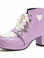 cheap -women cute shoes block heel short boots mid heel lace up booties bowknot lolita shoes purple size 45 asian
