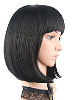 cheap -Short Bob Hair Wigs 12inch Straight with Flat Bangs Synthetic Colorful Cosplay Daily Party Wig for Women