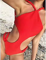 cheap -Women's Fashion Sexy One Piece Swimsuit Lace up Cut Out Padded Normal Swimwear Bathing Suits Red