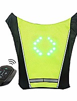 cheap -led turn signal vest bike pack guiding light reflective luminous safety warning direction backpack with remote controller for night cycling running walking hiking bag (signal vest - green)