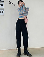 cheap -Women's Streetwear Comfort Daily Going out Jogger Sweatpants Pants Solid Colored Ankle-Length Pocket Black