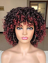 cheap -runm short curly afro wigs for black women kinky curly wig with bangs ombre red wig synthetic heat resistant full wig 14 inches(ombre red)