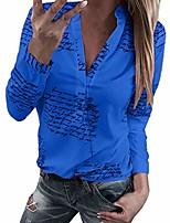 cheap -women v neck letters printing button long sleeve white turndown collar t-shirt tops blouse (khaki 4, l)