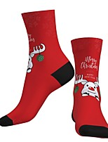 cheap -Socks Cycling Socks Men's Women's Bike / Cycling Breathable Soft Comfortable 1 Pair Graphic Santa Claus Cotton Red S M L / Stretchy