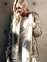 cheap -Long Sleeve Coats / Jackets Faux Fur Office / Career Women's Wrap With Solid / Fur