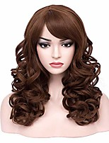 "cheap -18"" middle length curly wavy wig syntehtic fiber halloween cosplay costume party natural wigs with wig cap (brown)"