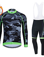cheap -WECYCLE Men's Women's Long Sleeve Cycling Jersey with Bib Tights Cycling Jersey with Tights Winter Fleece Polyester Green Black / White Black / Green Camo / Camouflage Bike Clothing Suit Fleece