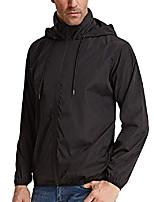 cheap -mens hooded rain jacket rain trench coat windbreaker lightweight (l,black)