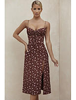 cheap -Sheath / Column Floral Sexy Party Wear Cocktail Party Dress Spaghetti Strap Sleeveless Tea Length Spandex with Split Pattern / Print 2020