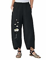 cheap -women's wide leg flower print loose pants casual trousers plus size high waist summer pants.(s-xxxl) black