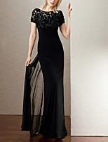 cheap -Sheath / Column Elegant Beautiful Back Wedding Guest Formal Evening Dress Illusion Neck Short Sleeve Floor Length Chiffon with Beading 2020