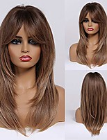 cheap -natural layered long straight brown wigs with side bangs heat resistant synthetic wigs for women costume halloween fancy dress party wig 24 inch