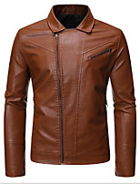 cheap -mens leather jacket (l, black)